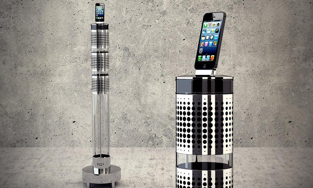 Sistema de altavoces tubular para iPod creado por Jean-Michel Jarre